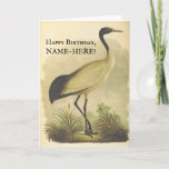 [ Thumbnail: Tall Standing Bird, Vintage Look Birthday Card ]