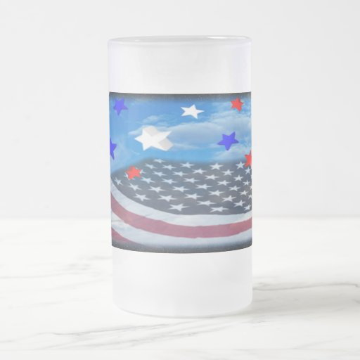 Tall stars and strips flag glass 16 oz frosted glass beer mug