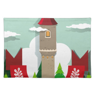 Tall tower with single window cloth placemat