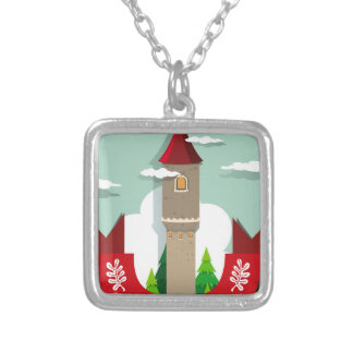 Tall tower with single window silver plated necklace