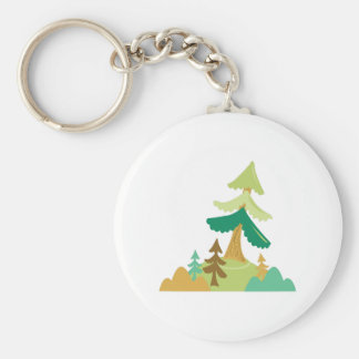 Tall Trees Basic Round Button Keychain