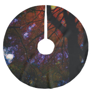Tall Trees Fall Abstract Brushed Polyester Tree Skirt