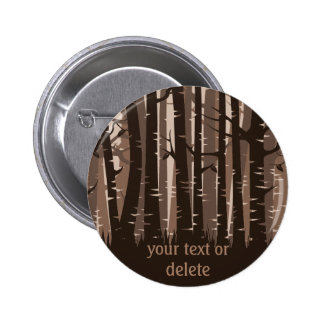Tall Trees forest -  brown on dark Button