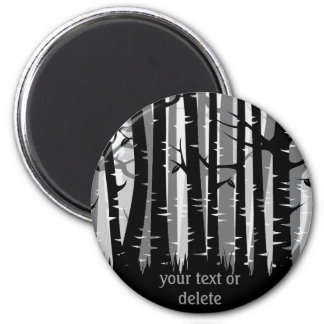 Tall Trees forest -  grey - on dark Magnet