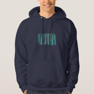 Tall Trees forest -  teal - on dark Hoodie