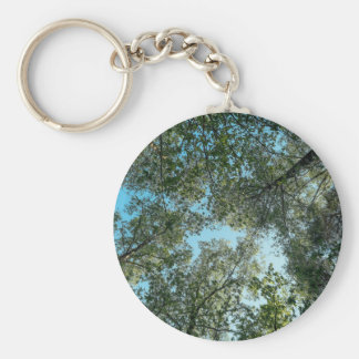 Tall trees hugging together in sky basic round button keychain