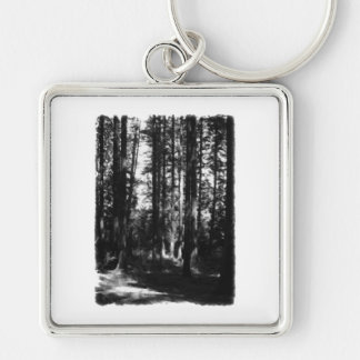 Tall Trees in Black and White. Silver-Colored Square Keychain