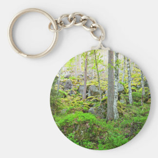 Tall Trees In Finland'S Forest On Granite Rocks An Basic Round Button Keychain