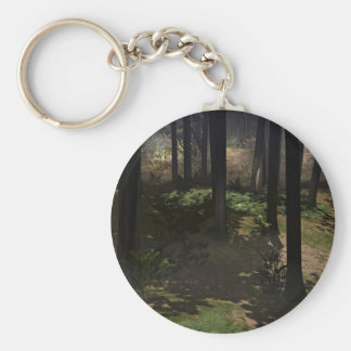 Tall Trees In The Woods Basic Round Button Keychain