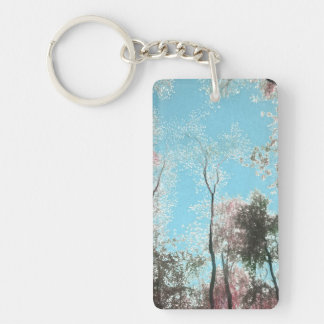 Tall Trees with Maroons, White and Blue Colors Keychain