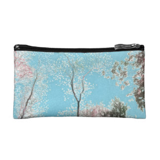 Tall Trees with Maroons, White and Blue Colors Makeup Bag