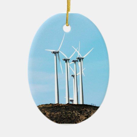 Tall Turbines Ceramic Ornament