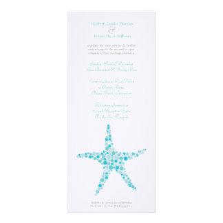 Tall Wedding Aqua Turquoise Starfish Invitation
