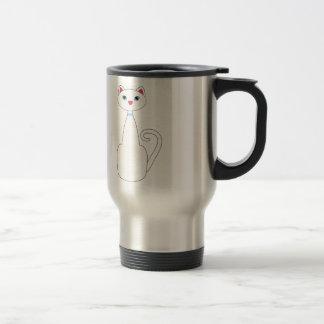 Tall White Cat Travel Mug