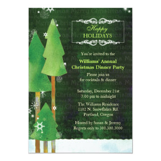 Tall Winter Trees Green Christmas Dinner Party Card