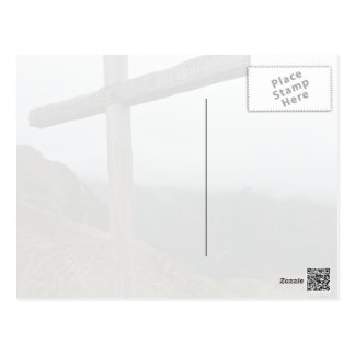 Tall, wooden cross on side of mountain postcard