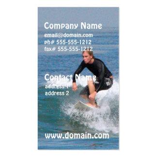 Talla de la persona que practica surf tarjetas de visita