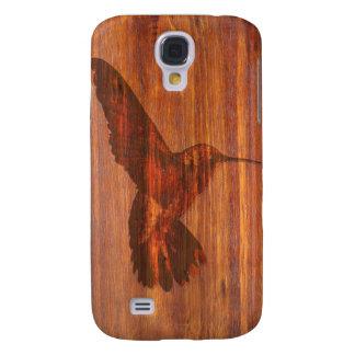 Talla de madera del colibrí funda para galaxy s4
