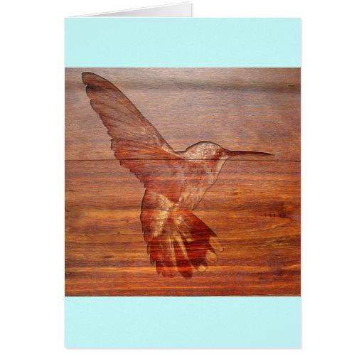 Talla de madera del colibrí tarjeta de felicitación