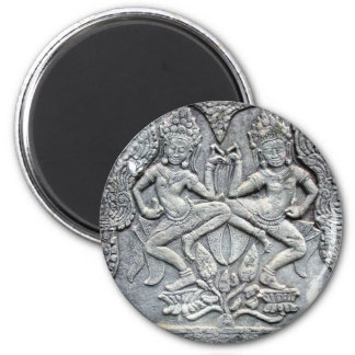 Talla de piedra de los bailarines camboyanos imán redondo 5 cm