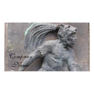 Talla de piedra del guerrero azteca tarjetas de visita