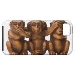 Talla de tres monos de madera iPhone 5 Case-Mate cobertura