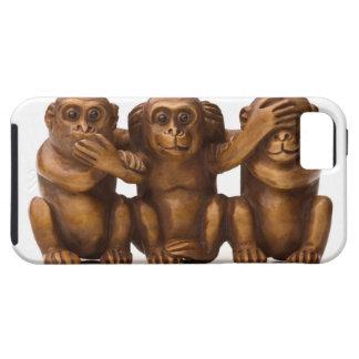 Talla de tres monos de madera funda para iPhone SE/5/5s
