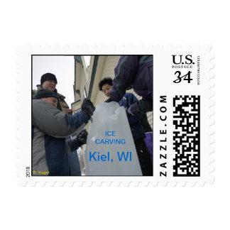 Talla del hielo - Kiel, Wisconsin Timbre Postal