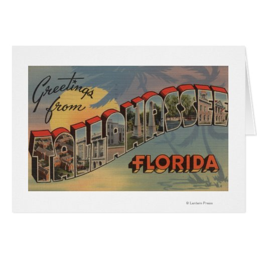 Tallahassee, Florida - Large Letter Scenes Greeting Card