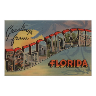 Tallahassee, Florida - Large Letter Scenes Poster