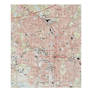 Tallahassee Florida Map (1999) Poster