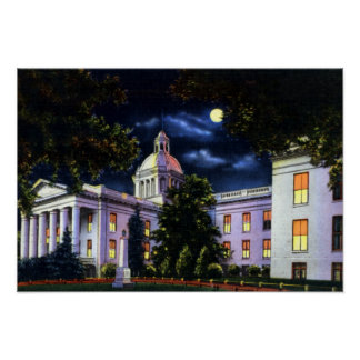 Tallahassee Florida State Capitol at Night Poster