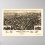Tallahassee, mapa panorámico de FL - 1885 Póster