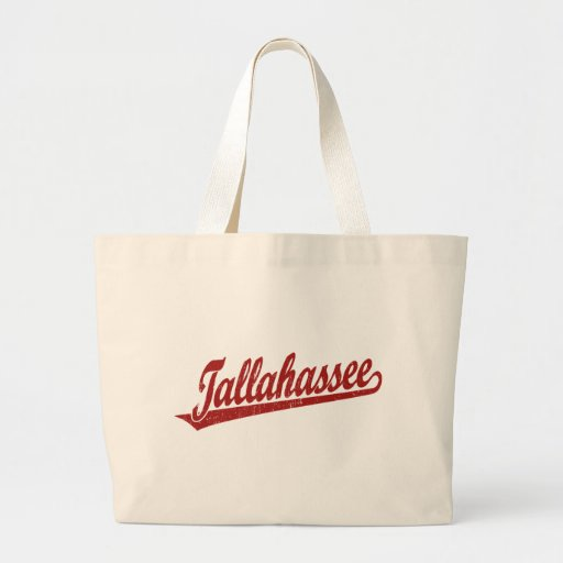 Tallahassee script logo in red distressed canvas bag