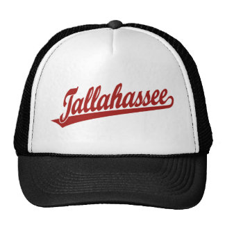 Tallahassee script logo in red trucker hat