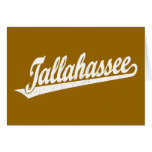 Tallahassee script logo in white distressed cards