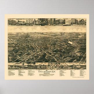 Tallapoosa, mapa panorámico del GA - 1892 Posters
