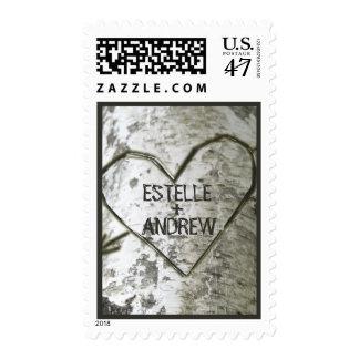 Talle el árbol de abedul del corazón sello postal