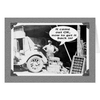 Taller de los mecánicos, vintage, coche viejo y tarjeta de felicitación
