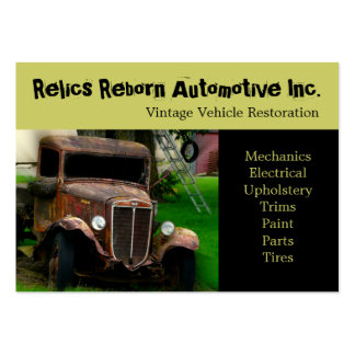 Taller de reparaciones del camión viejo antiguo de tarjeta de visita