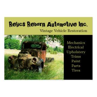 Taller de reparaciones del camión viejo antiguo de tarjetas de visita