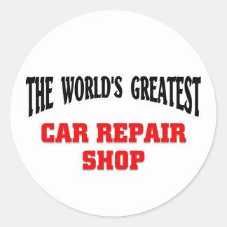 Taller de reparaciones del coche más grande pegatina redonda