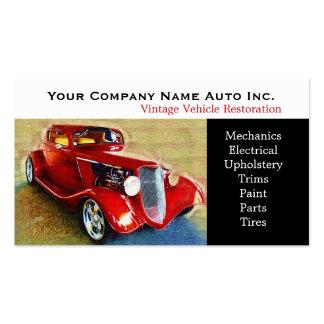 Taller de reparaciones del coche viejo - restaurac tarjetas de visita