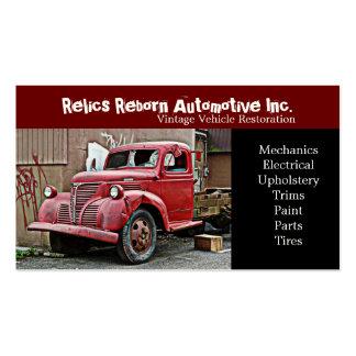 Taller de reparaciones roto del camión viejo de la tarjeta de visita