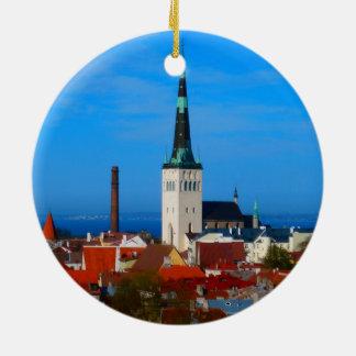 Tallinn, Estonia Double-Sided Ceramic Round Christmas Ornament
