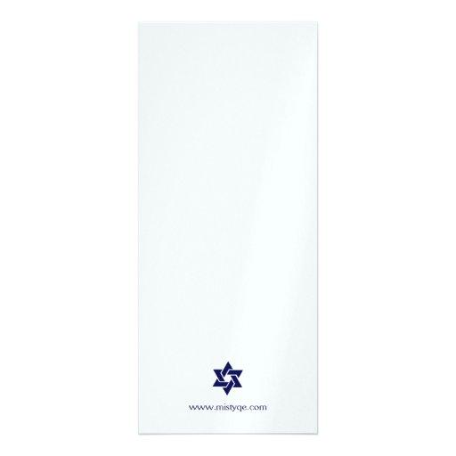 Tallit Bar Mitzvah Invitation in Metallic (back side)