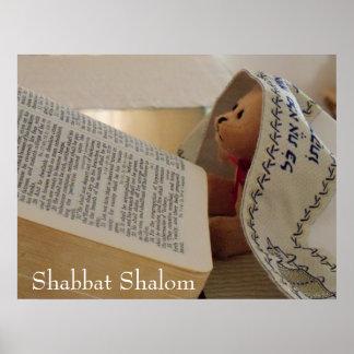 Tallit que lleva judío Shabbat Shalom del oso de p Póster