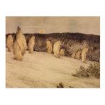 Tallos del grano en claro de luna tarjeta postal