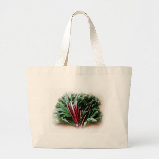 Tallos y hojas frescos del ruibarbo bolsa tela grande