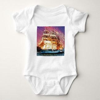 tallship and fireworks baby bodysuit
